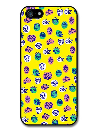 Cute Colourful Faces Illustration on Yellow Background case for iPhone 5 5S