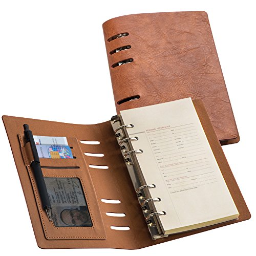 Agenda ad anelli ricaricabile in PU, formato A6, colore marrone, vari scomparti per carte credito o biglietto da visita. Pratica e funzionale Primetrade