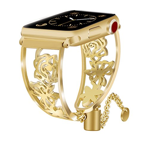 - VIGOSS Jewelry Metal Bangle Compatible with Series 4 Apple Watch Band 38mm/40mm Luxury Gold Cuff Floral Hollow Out Bracelet Stainless Steel Strap for iWatch Series 4/3/2/1 Sport Butterfly 38/40
