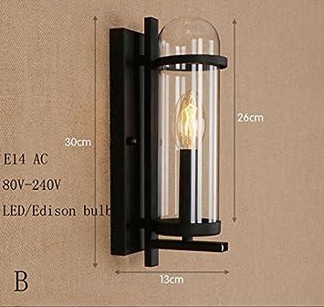 LWYJRBD Wandleuchte Wandlampe/Loft Eisen Wand Lampen Industrie Glas ...