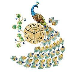 Bidesen Home Deco European style Peacock wall clock crystal luxury living room clock creative personality modern art decorative clock mute wall watch quartz clock large size (Color : A)