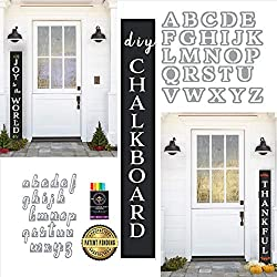 "Plata DIY Interchangeable Porch Welcome Sign Craft Gift Set | 58"" Chalkboard + Magnet Letter Stencils + 6 Waterproof Chalk Markers 