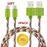 Sogola Micro USB Cable, Nylon Braid High Speed 2.0 USB to Micro USB Charging Cables Android Fast Charger Cord for Samsung Galaxy S7 Edge/S6/S5/S4,Note 5/4,HTC,LG,Tablet - (2 Pack 10ft Green)