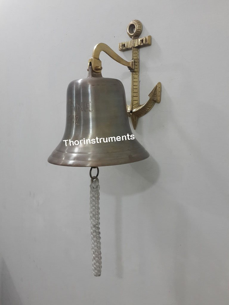THORINSTRUMENTS (with device) 8'' Antique Brass Titanic 1912 Nautical Ship Bell Home Decor