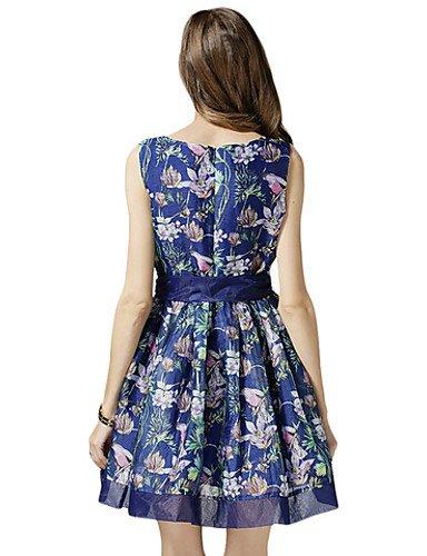 PU&PU Robe Aux femmes Ample Sexy,Fleur Col Arrondi Au dessus du genou Polyester , blue-2xl , blue-2xl