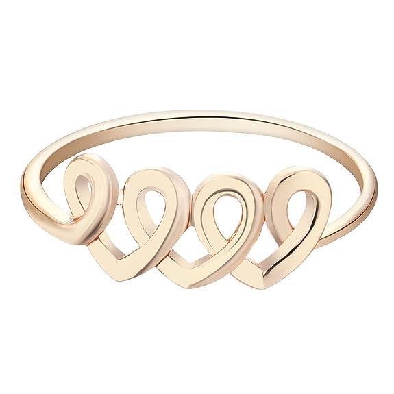 qiandi hermana amor corazón anillo día de San Valentín Regalo cumpleaños joyas para mujeres niñas