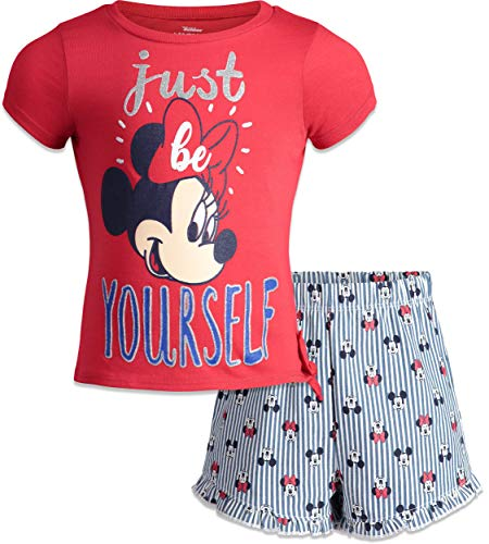 - Disney Minnie Mouse Infant Baby Girls' T-Shirt & Chambray Shorts Set (Bright Red, 12 Months)