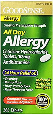 GoodSense All Day Allergy, Cetirizine HCL Antihistamine Tablets, 10 mg