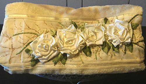 Bath Towel + Hand Towel Embellished with hand-made roses and embroidered (Embellished Rose)