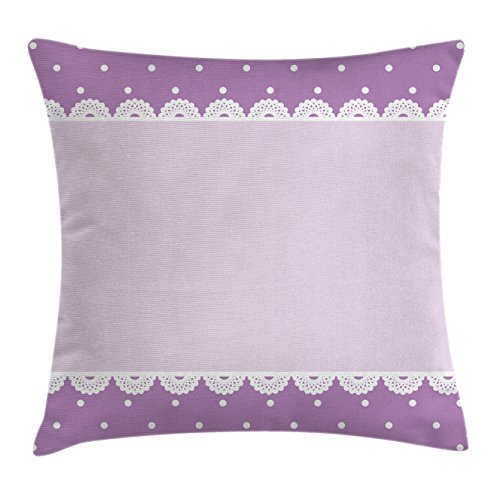 Ambesonne Mauve Throw Pillow Cushion Cover, Old Fashioned Ornate Lace Pattern with Classical Polka Dots Background Image, Decorative Square Accent Pillow Case, 16