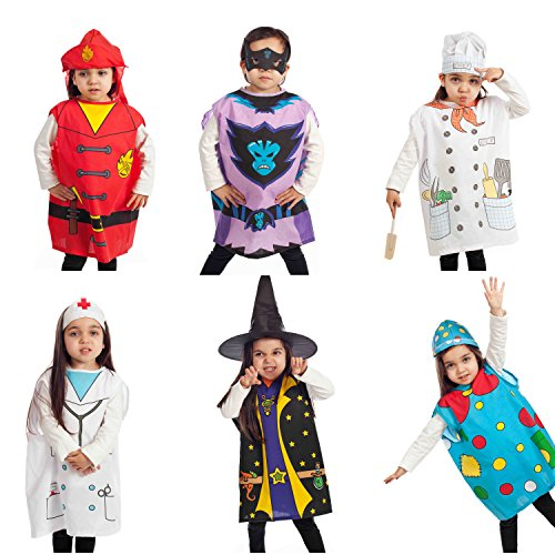 IQ Toys 6 Pieces Dress Up Costumes Fireman Gotham Cook Nurse Clown Witch -