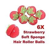 Vktech Strawberry Curlers Sponge Rollers 6 roll Hair Sponge Care girl