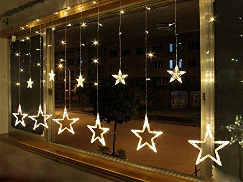 Homedecoam LED Sternenvorhang mit 138 LED-Lichter AC 220V 200cmx 60cm/ 200cmx 100cm Weihnachtlicher Lichtervorhang Lichterkette Stern Weihnachtsdekoration Dekoleuchte Dekolicht Warm weiss