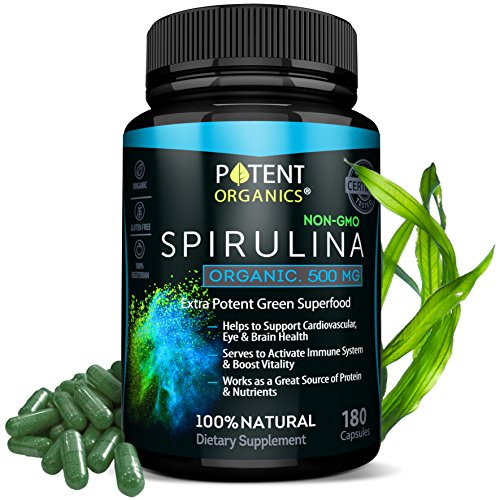Eco-Pure Spirulina 500 mg – Organic, 100% Vegetarian & Non-GMO – No After Taste and Easy to Swallow Pills – Non-Irradiated Superfood Tablets – 180 Powder Capsules – Made in USA by Potent Organics (Image #7)