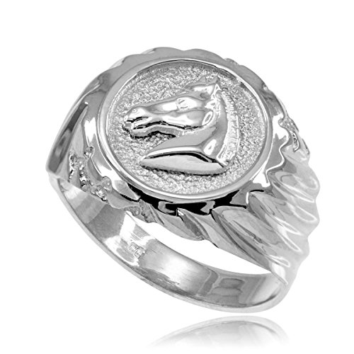 (High Polish 925 Sterling Silver Horse Head Ring for Men (Size 10.5))