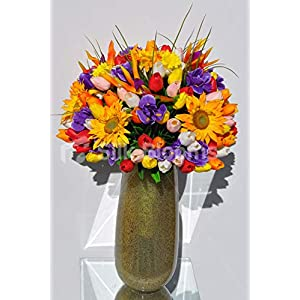 Silk Blooms Ltd Artificial Yellow Sunflower, Tulip, Iris and Daffodil Floral Arrangement w/Vase 4