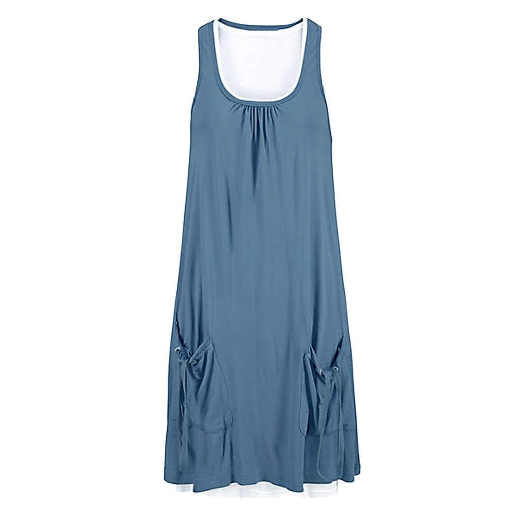 Lovygaga Summer Popular Women Casual Sleeveless Beach Mini Sundress with Pocket Brief Round Collar Plus Size Dress Blue