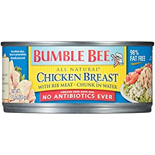 BUMBLE BEE Premium Chicken Breast with Rib Meat Chunk in Water, 10 Ounce Can, Canned Chicken Breast, Gluten Free, High Protein, Keto Food, Keto Snack, Gluten Free, Paleo Food, Canned Food