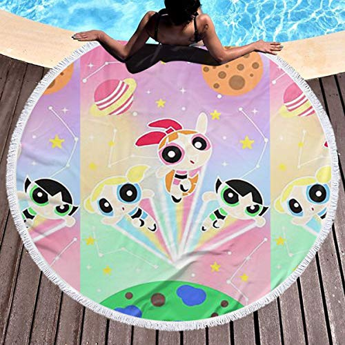 Xzcxyadd Round Beach Towel Large The Power Girl Beach Towel Blanket with Tassels Ultra Soft Super Water Absorbent Multi-Purpose Beach Throw 59 Inch