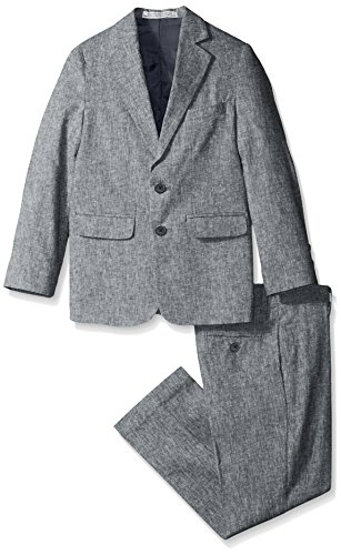 Perry Ellis Big Boys' Linen Look Suit, Navy, 14 (Boys Linen For Suit)