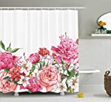 Hot Pink Fabric Shower Curtain Ambesonne Floral Shower Curtain, Blooms Bouquet Botany Rose Peony Wild Lily Love Watercolor Art, Fabric Bathroom Decor Set with Hooks, 70 Inches, Hot Pink Dark Coral Hunter Creen