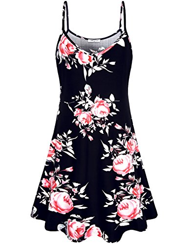 SeSe Code Black Floral Dress Womens Tops Fit and Flare Dresses Cute Soft Surroundings Sleeveless Tunics Trapeze Floating Flowered Mixed Print Sundress X-Large