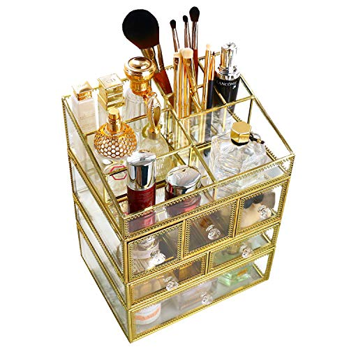 minopigo Antique Spacious Mirror Glass 6Drawers Vanity Tray Set/Gold Metal Cosmetic Makeup Storage/Stunning Jewelry Cube Organizer. It Consists of 4Separate Organizers Dustproof by minopigo (Image #1)