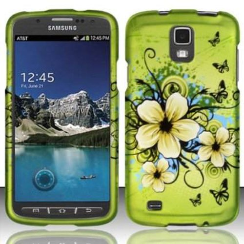 [Windowcell] Hard Case for for Samsung Galaxy S4 Active I537 I9295 (At&t) Rubberized Design Cover - Hawaiian Flowers