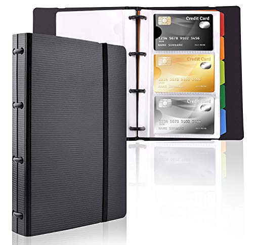 - MaxGear Professional Business Card Holders Business Card Book Holder Name Card Organizer Credit Card Holder with 5 Color Index Tabs Black