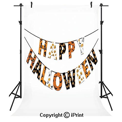 Halloween Photography Backdrops,Happy Halloween Banner Greetings Pumpkins Skull