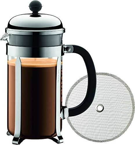 Bodum Chambord 8 Cup French Press Coffee Maker, 34-Ounce, Chrome (1928-16US4) and Added Bodum Replacement French Press Filter (1508-16) - Bundle