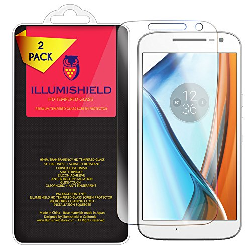 Uv Sensitive Case Fan - iLLumiShield Glass Screen Protector Compatible with Motorola Moto G4 (2-Pack) Anti-Scrach, Case Friendly and No-Bubble Clear Tempered Glass