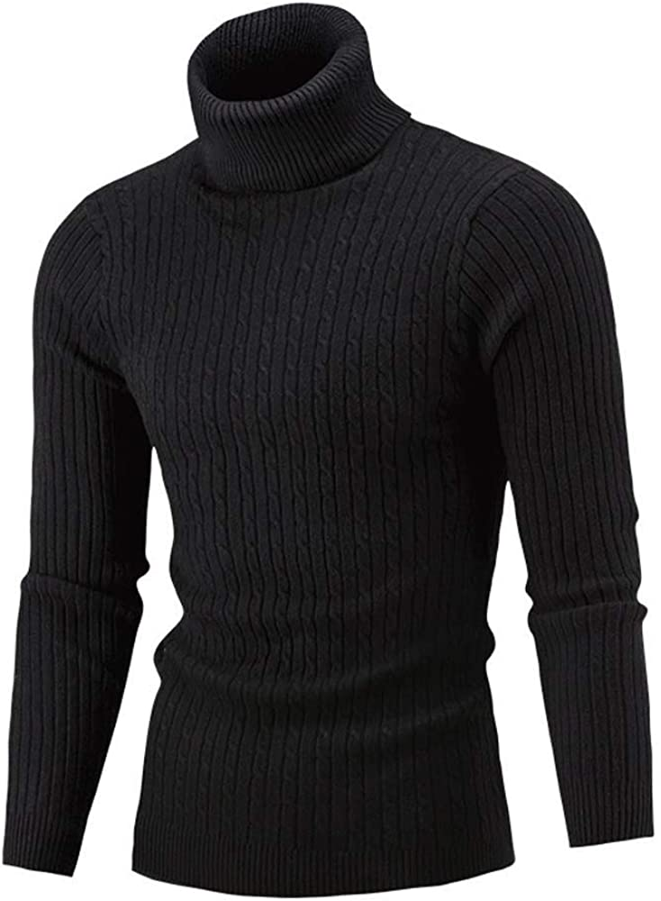 JURTEE Maglione Dolcevita Uomo Invernali a Manica Lunga Maglia Collo Alto Pullover Comodo Morbidi Tinta Unita Casuale Maglieria Maglierie