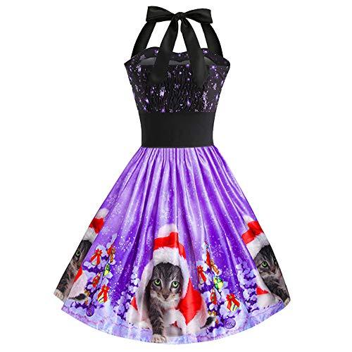 MALLOOM Women's Vintage Christmas Dress Cats Print Halter Sleeveless Cocktail Swing Dress Prom Party Tea Dress -