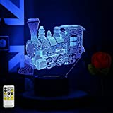 Toy Train Night Light for Kids LED Table Lamp 3D Illusion Optical Car Steam Train Remote Birthday Gifts for Men Girls Boys Adults Toddler Baby 7 Color Nursery Vintage Christmas Children