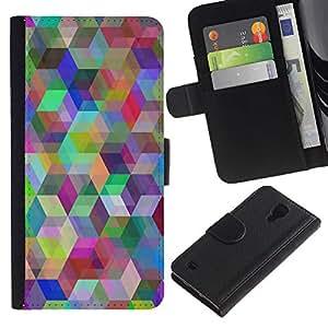 LECELL--Cuero de la tarjeta la carpeta del tirón Smartphone Slots Protección Holder For Samsung Galaxy S4 IV I9500 -- Patrón Geometría del arco iris --