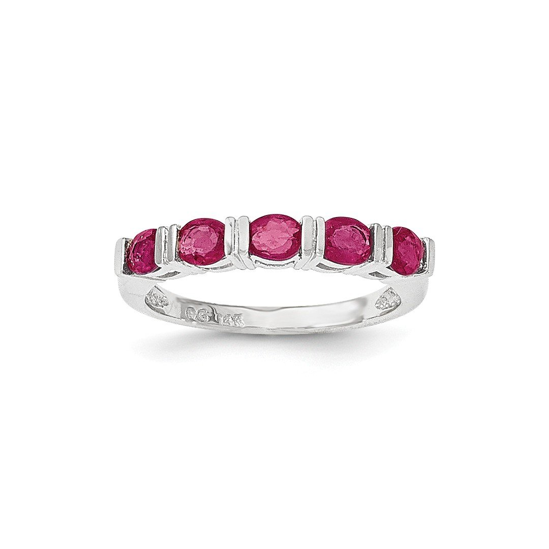 ICE CARATS 14k White Gold Glass Filled Red Ruby Five Stone Band Ring Size 7.00 Gemstone Fine Jewelry Gift Set For Women Heart