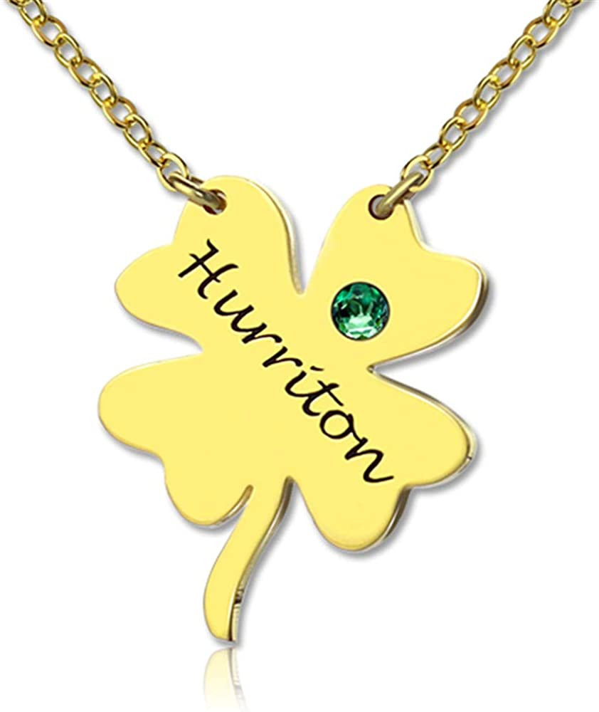 Shiny Alice Four Leaf Clover Birthstone Necklace Simple Long Necklaces Jewelry Custom Made Any Name