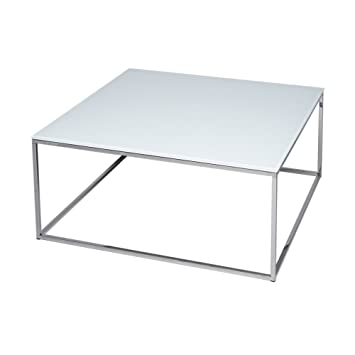 Table Basse Metal Blanc.Gillmore Space Verre Blanc Table Basse Carre D Argent Metal