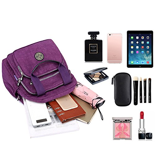 Fashion Shoulder Bag Elegant Bag Backpack Shoulder JOSEKO Lady Women Blue Nylon Sky Multipurpose Black Stylish Travel PrPfq7Y