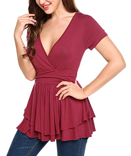 Beyove Women V-Neck Short Sleeve Ruched Slimming T-Shirt Blouse Top Wine Red XL