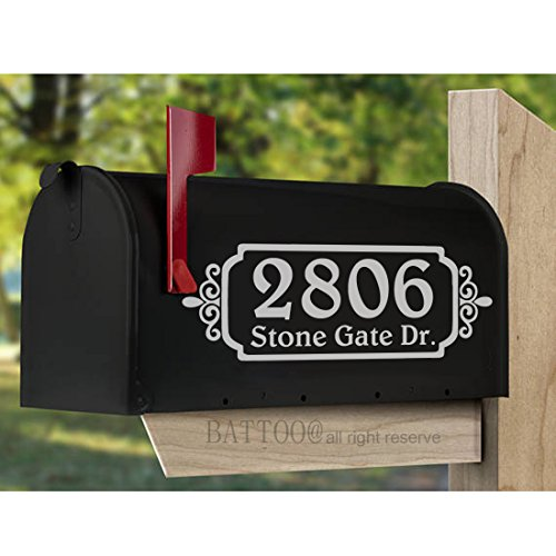 - BATTOO Rustic Mailbox Decals Set of TWO Vinyl Decals for Mailbox Vinyl Monograms Address Decals Country Rustic Address Curb Appeal Home Decor 15