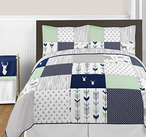 Price comparison product image Navy Blue, Mint and Grey Woodsy Deer Girls 3 Piece Full / Queen Bedding Set