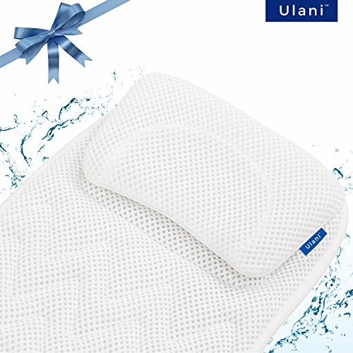 Full Body Bath Pillow Mat by Ulani [Original, Extra-long, Luxury Spa Cushion/Bathtub mat + Head Pillow] Large Non-Slip Suction Cups, Neck, Shoulder & Tailbone Support, Quick Dry, Anti-bacterial