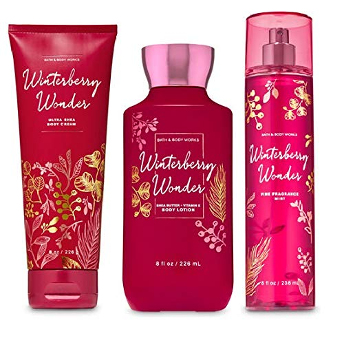 Bath and Body Works NEW 2019 WINTERBERRY WONDER - Trio Gift Set Body Lotion - Body Cream and Fragrance Mist - Full Size (Winterberry Set)