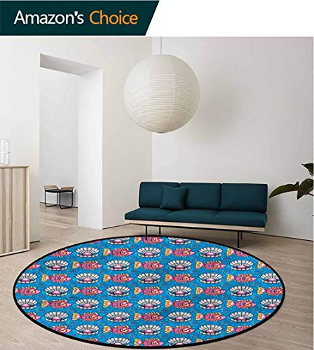 RUGSMAT Pearls Round Rugs for Bedroom,Dotted Seashells Fish Protect Floors While Securing Rug Making Vacuuming Diameter-51