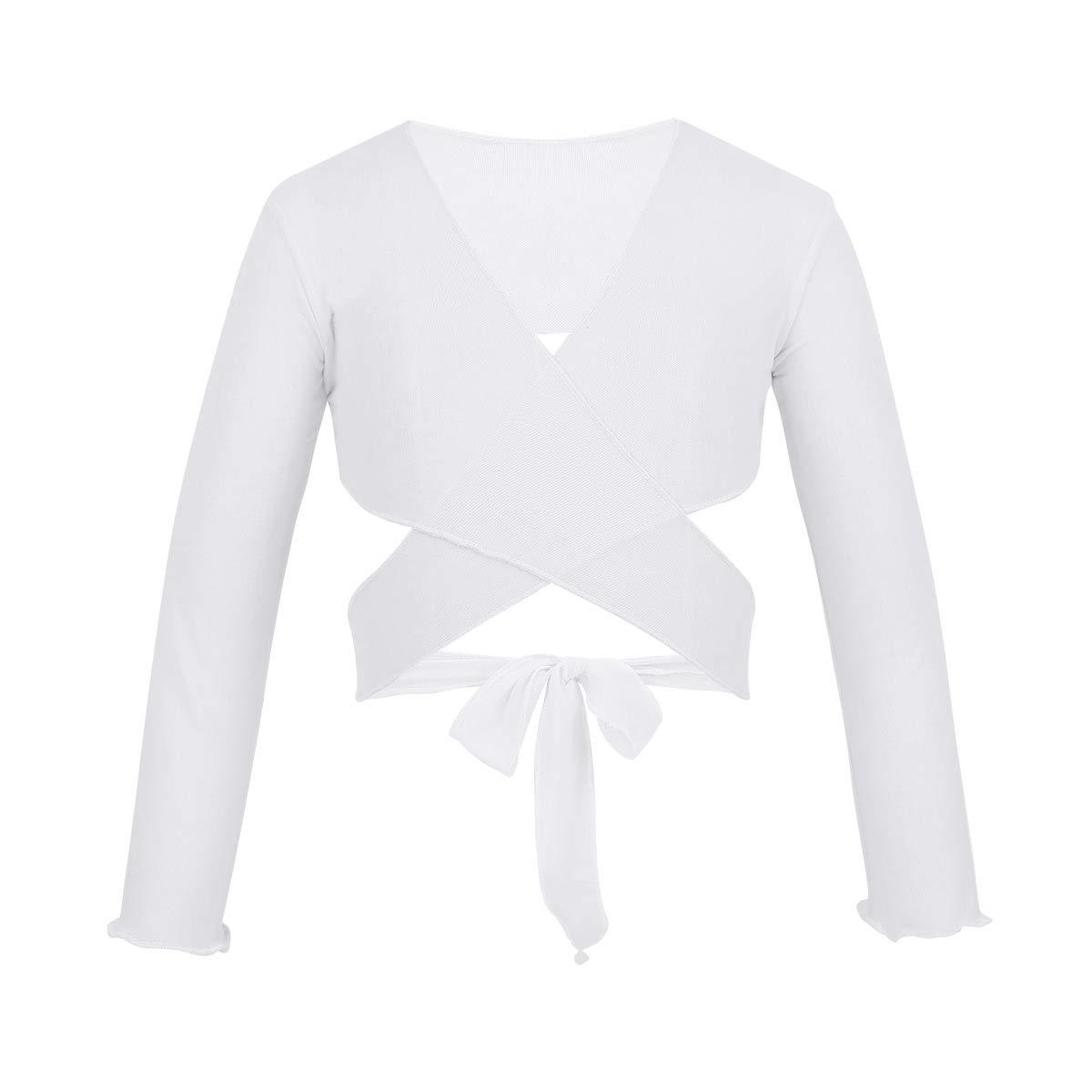 iEFiEL Girls Front Twist Knot Long Sleeve Ballerina Dance Cotton Wrap Top White Mesh 7-8 by iEFiEL