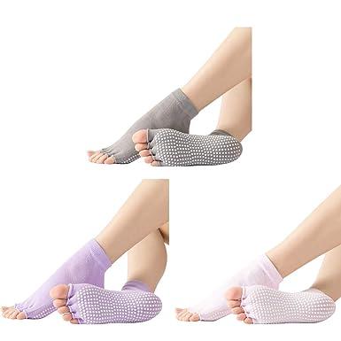 ZOYLINK Yoga Socks Elastic Toeless Non-Slip Grip Socks ...