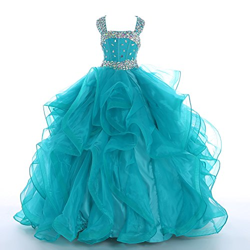 WZY Big Girls Beaded Long Ruffled Party Ball Gown Girls Pageant Dresses 16 US Turquoise by WZY