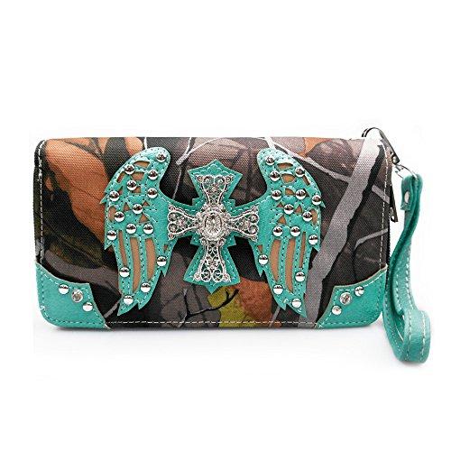 Cross La Wristlet Pretty Wallet Studded Turquoise for Wing Dearchuu Women Western Clutch Purse Bags 5AZxAY6nr